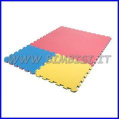 Tappeto incastro evafloor cm 100x100x1.5 giallo/verde ignifugo