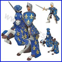Personaggi cavaliere comandante blu con cavallo