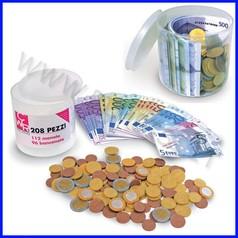 Euro monete e banconote barattolo 208 pz