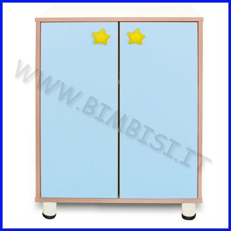 Mobile 3 ripiani 2 ante azzurro linea simply cm 72x45x100h