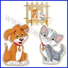 Decorazioni legno cane gatto cm 22x6x35h
