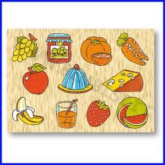 Puzzle legno - alimenti
