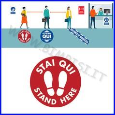 "Adesivo pavimento ""stai qui/stand here"" diam.30 cm rosso"