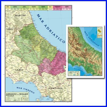 Carta geografica regionale abruzzo moli- se 100x140 bifacciale da parete