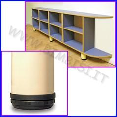 Piedini in metallo conf. 4 pz. per mobili modulari 106.09930 e 09940