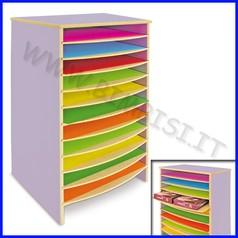 Mobile carta con 11 ripiani in legno