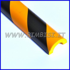 Paraspigolo in poliuretano a righe giallo/nere barra h100 x tubi