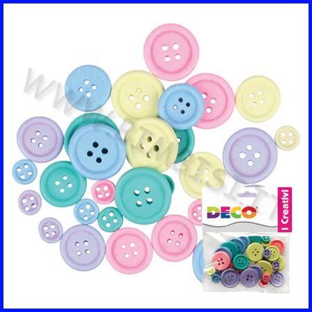 Bottoni in legno assortiti - 30 pz. - colori pastello
