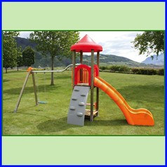 Aladin n.1 torre rampa/scivolo h 144 + altalena n.1 tavoletta
