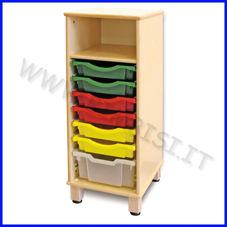 Cassettiera legno cm.38x45x100h
