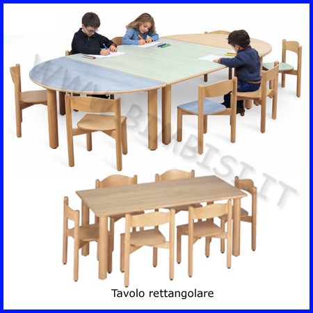 Tavolo rettangolare grande materna 150x75x53