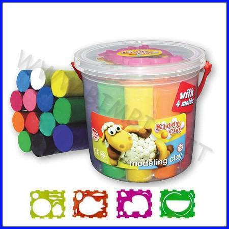 Kiddy clay - 13 stick plastilina colori ass.+ accessori - secchio