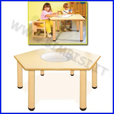 Tavolo manipolazione nido esagonale gambe in legno+vasca linea milano h 46