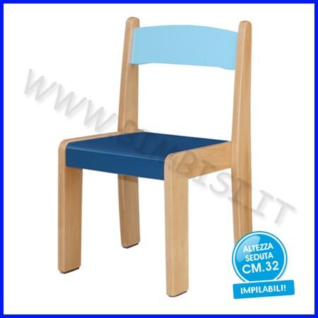 Sedia legno h 32 blu fino ad esaurimento