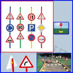 Segnali stradali set b c/mattoni set 12 segnali + 6 bastoni + 6 mattoni