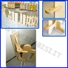 Recinto staccionata in legno spalla per ancoraggio al muro c/cerniere 10x15x77h