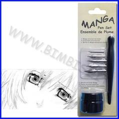 Scrittura manga - set manico + 5 pennini e inchiostro