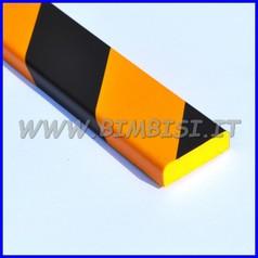 Paraspigolo in poliuretano a righe giallo/nere barra h100 piatto