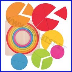 Cerchio delle frazioni in legno - 21 pezzi