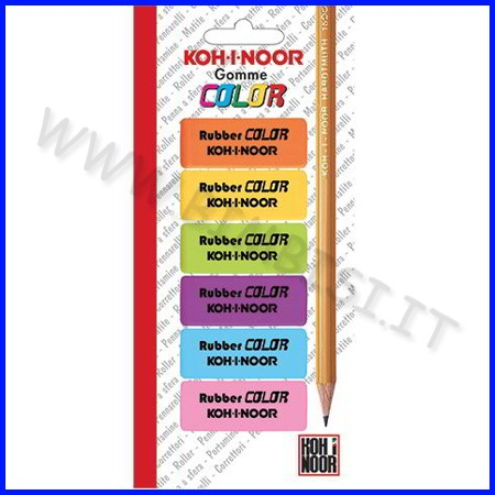Gomme colorate - blister 6 pz. assortiti