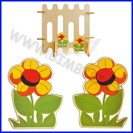 Decorazioni legno due fiori cm 23x35