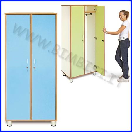 Mobile spogliatoio 2 posti linea simply cm.72x45x180h - azzurro