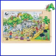 Puzzle legno/cartone cm.30x20 - visita allo zoo (24 pz.)
