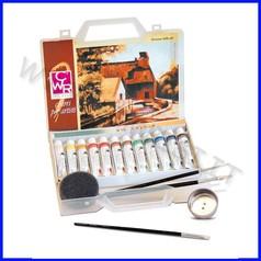Colori a olio valigetta 12 tubi+accessor