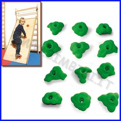Appigli verde set 12 pz per arrampicata in legno