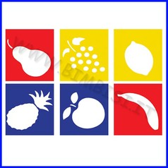 Stencil cm 14x15 6 pz frutta