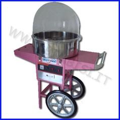 Zucchero filato con cupola e carrello