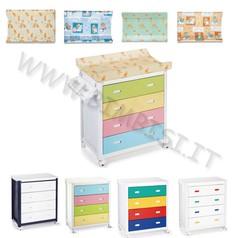 Fasciatoio cassettiera ariel plebani telaio bianco+4 cassetti+vasca+portaogg