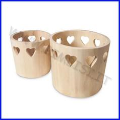 Supporti in legno: vasi con cuori set 2 pezzi