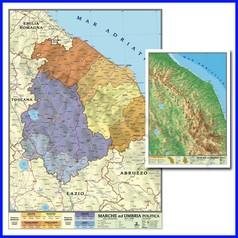 Carta geografica regionale marche umbria 100x140 bifacciale da parete