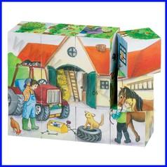 Puzzle cubi cm.14x10,5x3,5 - vita in fattoria (12 pz.) fino ad esaurimento