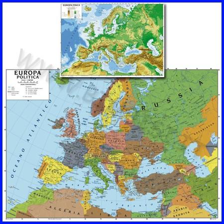 Carta geografica cm.100x140 - europa bifacciale da parete