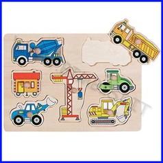 Puzzle legno c/pomelli cm.30x21 - mezzi da lavoro (7 pz.)