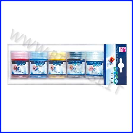 Colori per stoffa 5 flaconi ml.35 colori primari