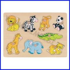 Puzzle legno c/pomelli cm.30x21 - zoo degli animali (8 pz.)