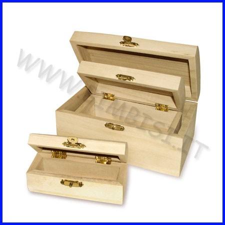 Supporti in legno: bauletti con chiusura set 3 pezzi