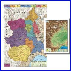 Carta geografica regionale piemonte e valle d'aosta 100x140 bifacciale parete