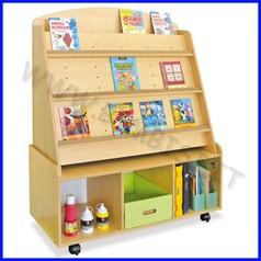 Libreria in legno alta con ruote dim.cm 92.5x35x122h