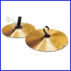 Strumenti musicali piatti in ottone c/ impugnatura diam.15 cm coppia