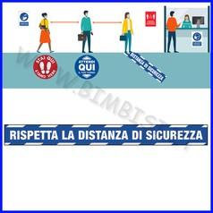 """Adesivo pavimento """"rispettare la distanz a di sicurezza"""" dim.cm 99.5x10 blu"""