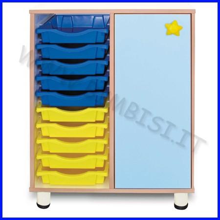 Cassettiera 10 cassetti + 3 vani con anta - h.cm.100 - azzurra linea simply
