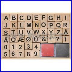 Timbrini in legno cm. 2x2 - set pz. 46 - lettere e numeri