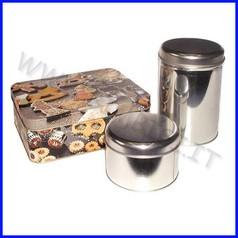 Scatola metallo cilindrica - diam. cm.11 x 16 h