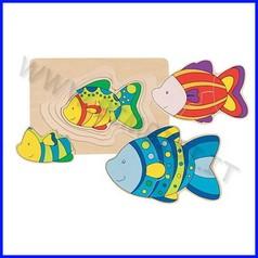 Puzzle legno livelli pesce (11 pz.)