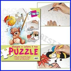 Puzzle bianco disegno/coloro 3pz 35,5x28