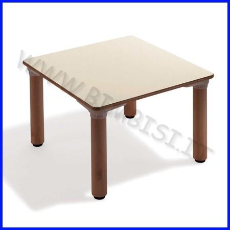 Tavolo quadrato materna gambe legno cm.65x65x53h linea milano